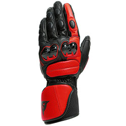 Dainese Impeto Leather Gloves - Black Lava Red